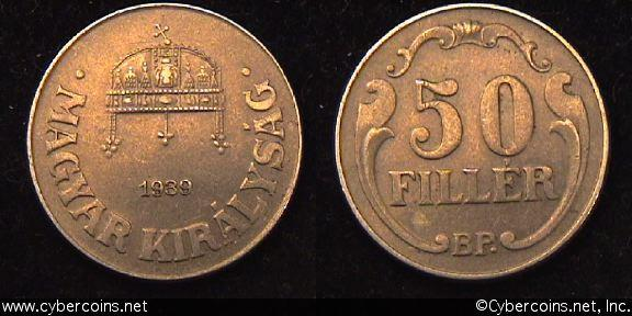Hungary, 1939BP, 50 filler, AU, KM509