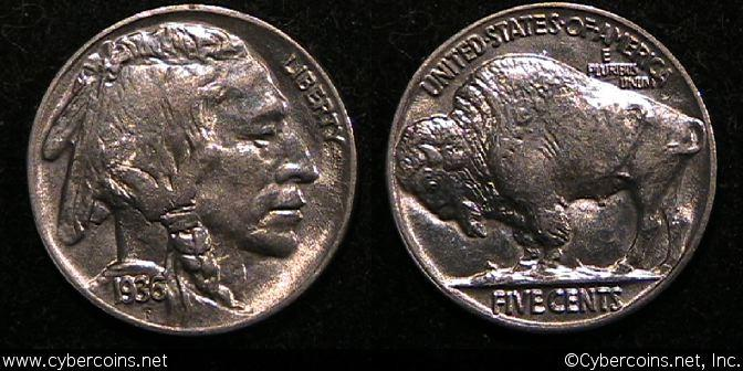1936 Buffalo Nickel, Grade= MS63