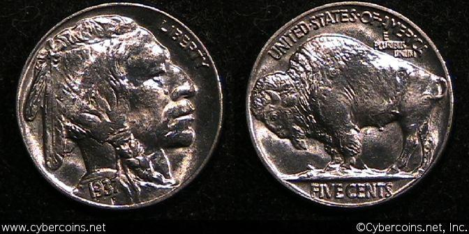 1937 Buffalo Nickel, Grade= MS64