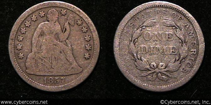 1857 Seated Dime, Grade= VG11