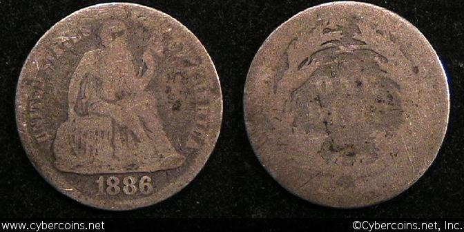 1886 Seated Dime, Grade= G/AG