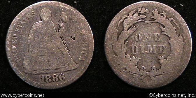 1886 Seated Dime, Grade= VG/G