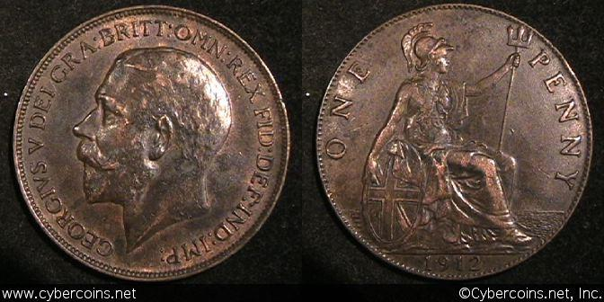 Great Britain, 1912, 1 penny,  XF/AU, KM810