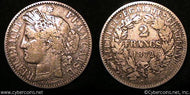 France, 1872K,  2 francs,VF, KM817.2