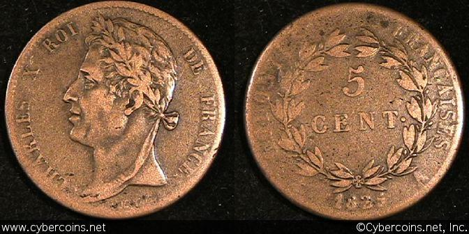 French Colonies, 1825,  5 Centimes, KM10.1