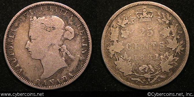 1881H, Canada 25 cent, KM5, VG with a slightly