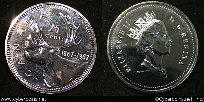 1992, Canada 25 cent, KM207, Proof. Exact