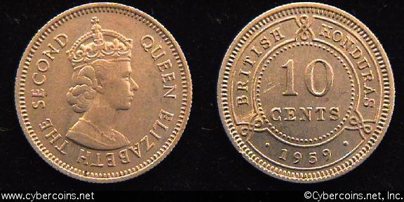 Belize, 1959,  10 cents, Choice AU, KM32