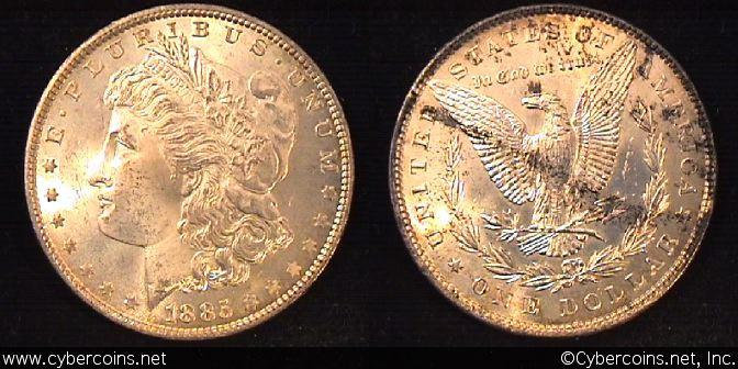 1885  Morgan Dollar, MS64/2 rev