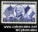 Scott 1010 mint  3c - Arrival of Lafayette in America -1777