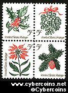 Scott 1254-57 mint  5c -  Christmas, 4 varieties, attached