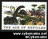 Scott 1390 mint  6c -   The Age of Reptiles