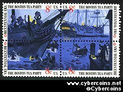 Scott 1480-83 mint  8c -   Boston Tea Party, 4 varieties, attached