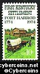 Scott 1542 mint sheet 10c (50) -   Fort Harrod Bicentennial