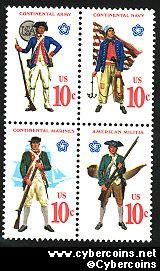 Scott 1565-68 mint  10c -   Miliitary Uniforms, 4 varieties, attached