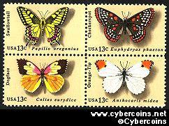 Scott 1712-15 mint 13c -  Butterflies, 4 varieties, attached