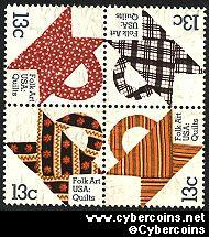 Scott 1745-48 mint 13c -  Quilts, 4 varieties, attached