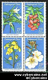 Scott 1783-86 mint 15c -  Endangered Flora, 4 varieties, attached