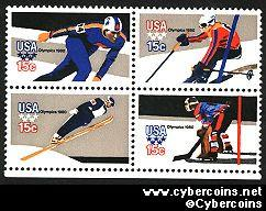 Scott 1795-98 mint sheet 15c (50) -  Winter Olympics, 4 varieties, attached