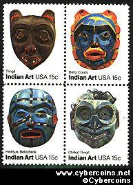 Scott 1834-37 mint 15c -  American Folk Art, 4 varieties, attached