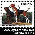 Scott 2101 mint 20c - American Dogs - Black & Tan Coonhound, American Foxhound
