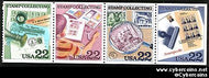 Scott 2201A mint 22c - Stamp Collecting, 4 varieties, attached