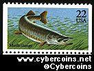 Scott 2205 mint 22c - Fish - Muskellunge