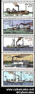 Scott 2405-9 mint 25c -  Steamboat, bklt pane, 5 varieties, attached
