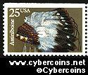 Scott 2501 mint 25c - Indian Headress - Assiniboin