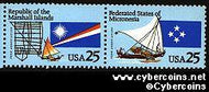 Scott 2506-7 mint 25c - Micronesia & Marshall Islands