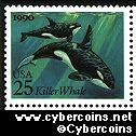 Scott 2508 mint 25c - Sea Creature - Killer Whales