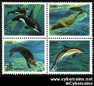 Scott 2508-11 mint 25c - Sea Creatures, 4 attached