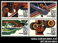 Scott C105-8 mint 40c - Summer Olympics, 4 attached