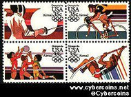 Scott C109-12 mint 35c - Summer Olympics, 4 attached