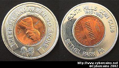 Encased Cent - 1990 South Hills Coin Club (1989
