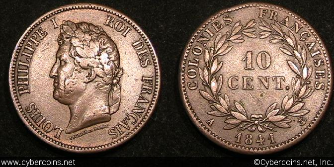 France/French Colonies, 1841A, 10 Centimes