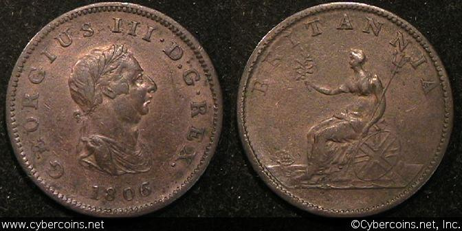Great Britain,  1806, 1/2 penny, XF, KM662