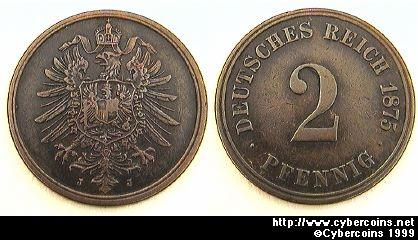 Germany, 1875J,  2 pfennig,  XF+, KM2