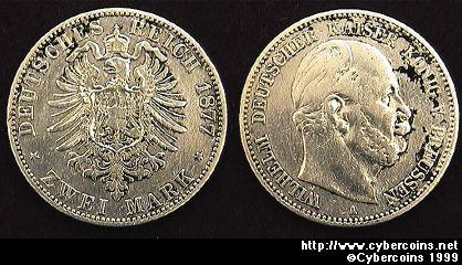 Prussia, 1877A, 2 marks, VF/XF cleaned, KM506  - silver .900