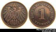 Germany, 1891F,  1 pfennig, RT AU, KM10