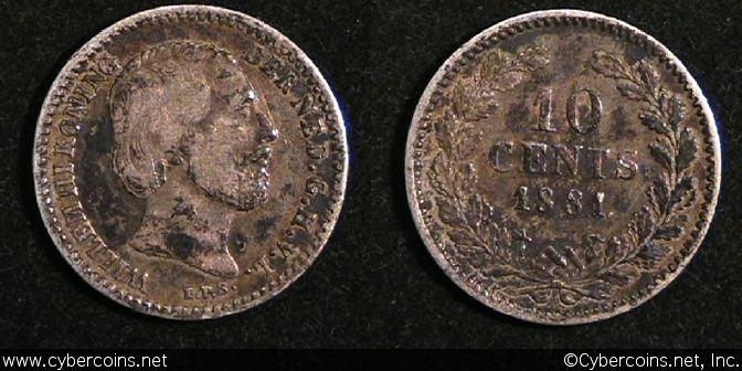 Netherlands, 1881 dot, 10 cent, VF/XF, KM80