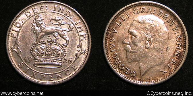 Great Britain, 1926, 6 pence,  XF/AU, KM828