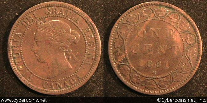 1881H, Canada cent, KM7, VF. Exact coin imaged