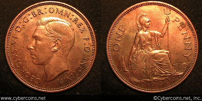 Great Britain, 1946, Penny, AU, KM845 -