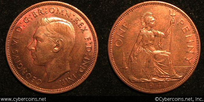 Great Britain, 1940, 1 penny, AU, KM845