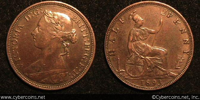 Great Britain, 1893, 1/2 penny, XF, KM754 -