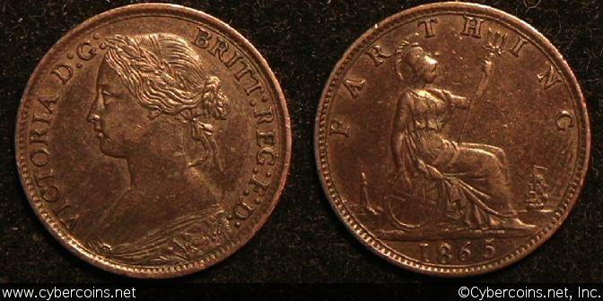 Great Britain, 1865/63, farthing, AU, KM747.2