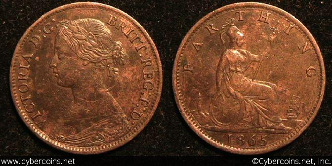 Great Britain, 1865, farthing, XF, KM747.2