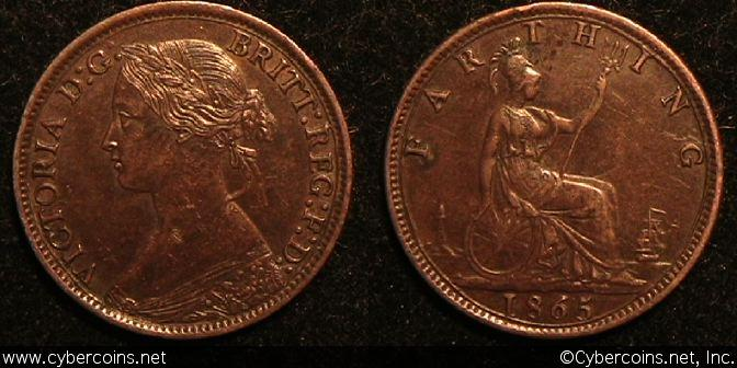 Great Britain, 1865, farthing, AU, KM747.2