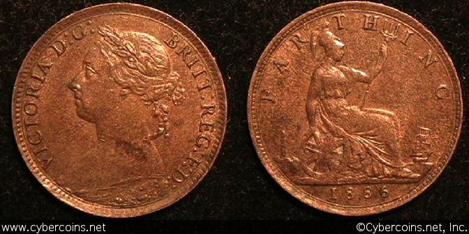 Great Britain, 1886, 1 farthing, AU/UNC-,